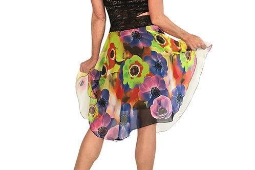 Blue + Lime Daisy on Cream chiffon circle skirt