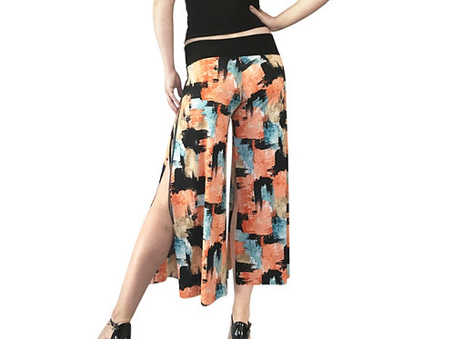 Fifties Retro Brush cropped pant with slits