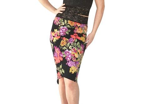 Black Floral Blur tuxedo pencil skirt