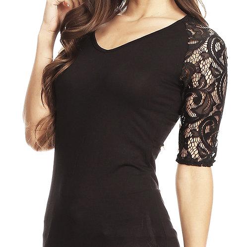 Lace Sleeve Black T