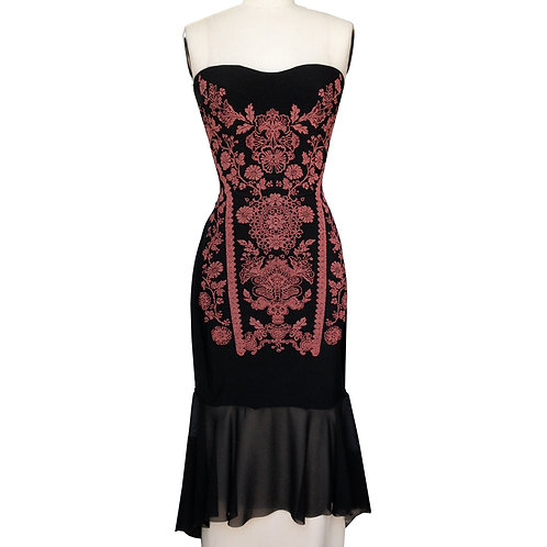 Strapless Faux Embroidered Mermaid dress