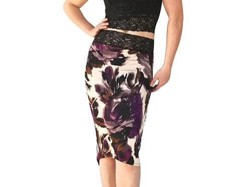 Purple + Gray floral tuxedo pencil skirt