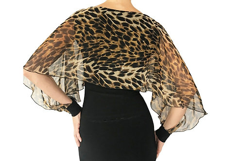 Golden Brown Cheetah chiffon Mariposa top