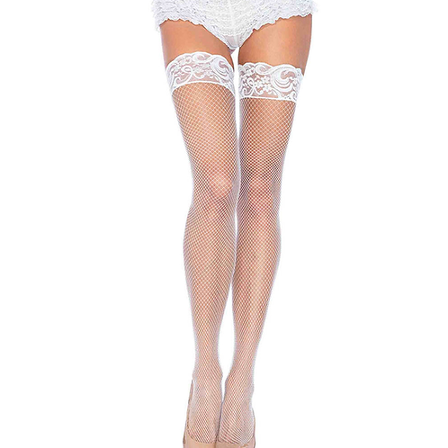 White Fishnet Sequin Stay Up Thigh High
