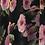 Thumbnail: Black + Pink Roses Chiffon circle skirt