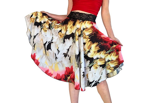 Red Tulips matte charmeuse circle skirt