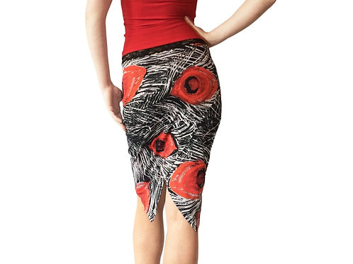 BW + Red Peacock tuxedo pencil skirt