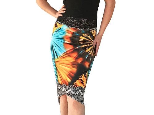 Orange Burst tuxedo pencil skirt