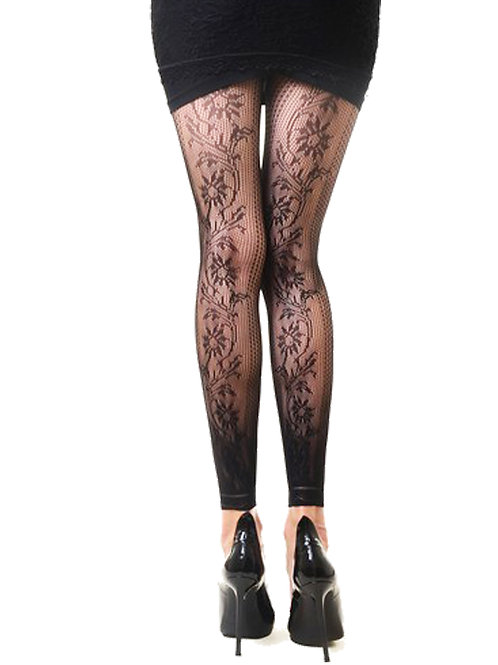 Floral  Footless Fishnets
