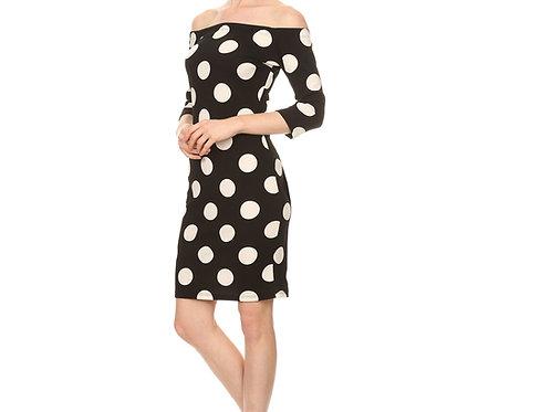 B&W Polka Dot 3/4 sleeve dress