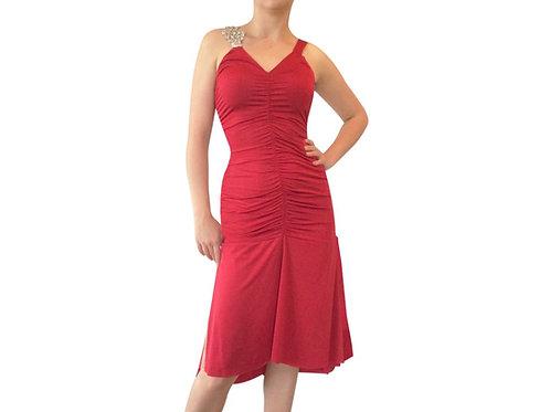 Ruched Rhinestone Strap dress
