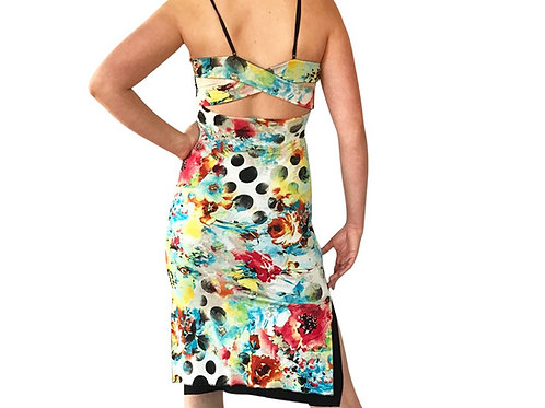 Floral Polka Dot Cross Strap dress