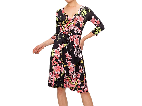 Pink Lily 3/4 sleeve wrap dress