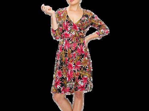 Magenta Palm 3/4 sleeve surplice dress