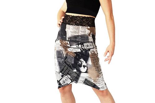 Newsprint tuxedo pencil skirt