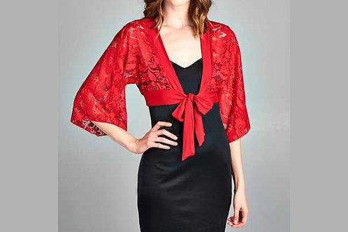 Red Lace kimono bolero