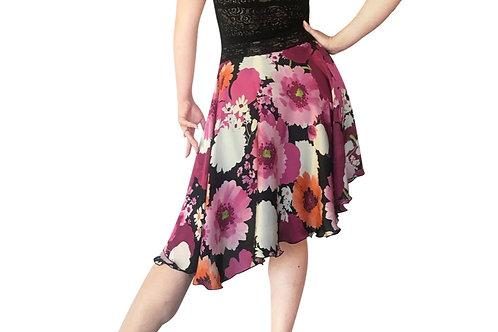 Pink floral charmeuse circle skirt
