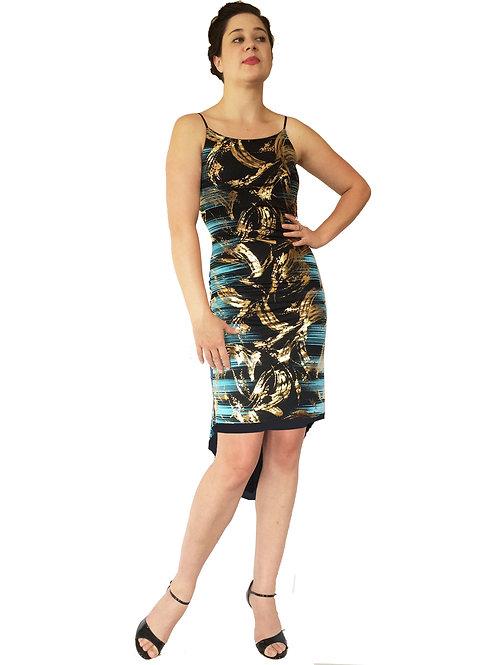 Turquoise Black & Gold Aztec Fishtail dress