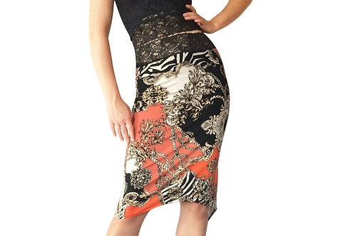 Hermes Coral tuxedo pencil skirt
