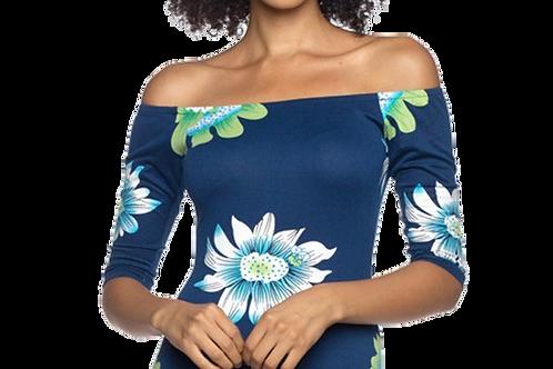 3/4 Sleeve Boatneck off shoulder in Blue Sunflower