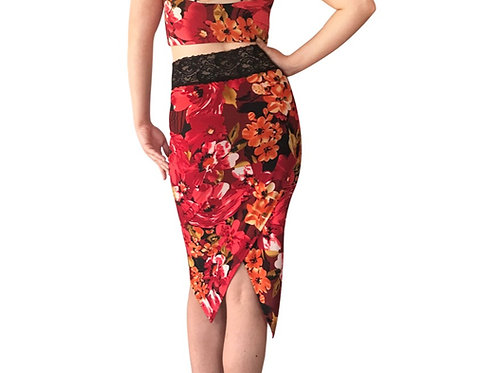 Red Tropical tuxedo pencil skirt