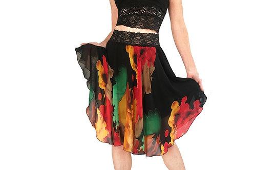 Fire Splash chiffon circle skirt