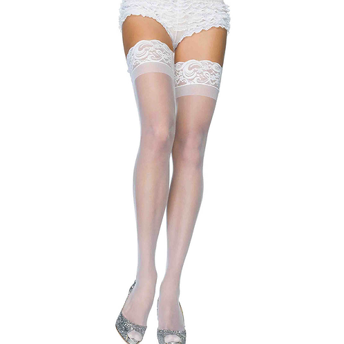 White Sheer Stay Up Thigh Highs