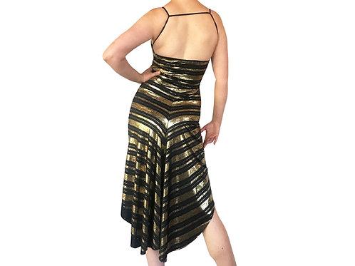 Gold Stripes fishtail dress