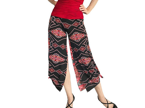 Black + Red India cropped pant with slits