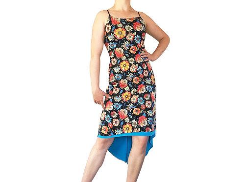 70's Floral Fishtail dress