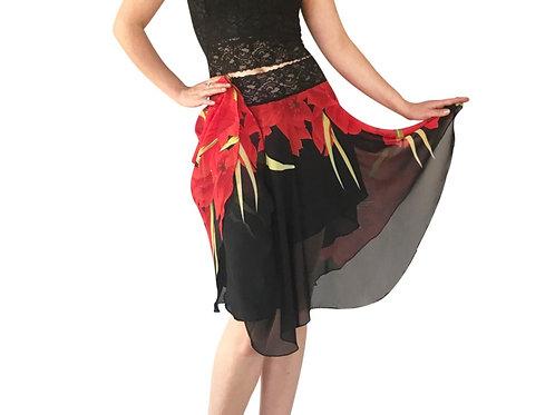 Red + Black Poinsettia chiffon circle skirt
