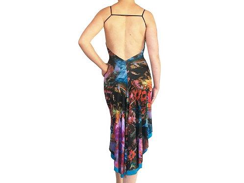 Neon Floral Collage fishtail dress