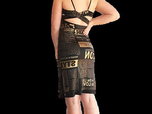 Black +Gold Newsprint cross strap sheath