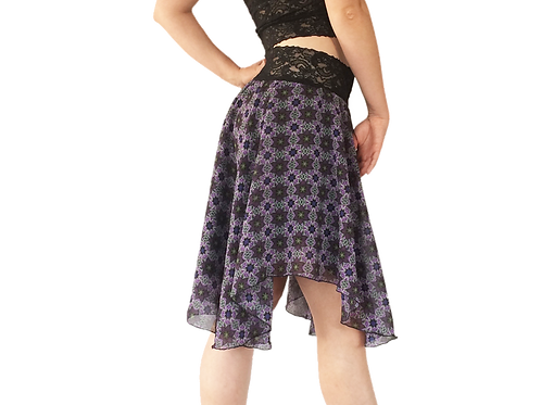 Purple Floral chiffon circle skirt