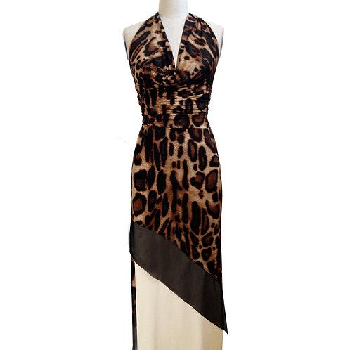 Drape Neck Asymmetrical sheath dress