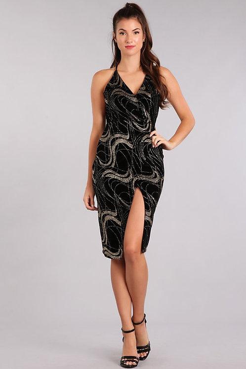 Velvet glitter slit dress