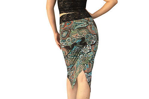 Turquoise Paisley tuxedo pencil skirt