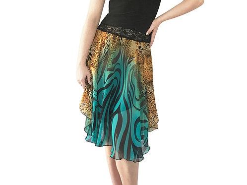Turquoise Zebra + Gold Cheetah chiffon circle skirt