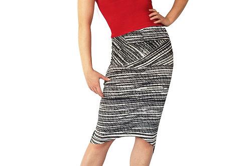 B+W Geometric Stripe tuxedo pencil skirt
