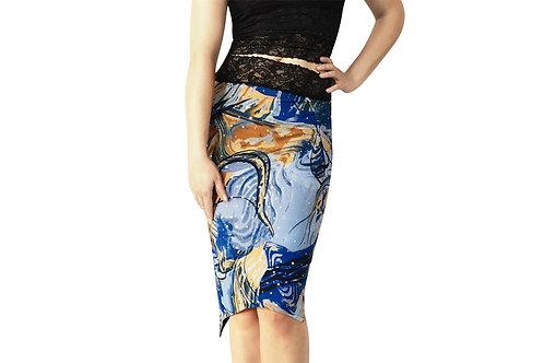 Blue + Beige Rhinestone tuxedo pencil skirt