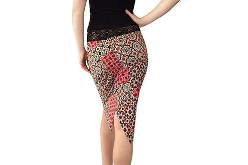 Bandana Mosaic tuxedo pencil skirt