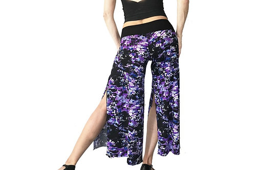 Purple Yves Klein cropped pant with slits