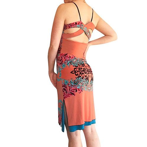 Salmon + Turquoise India cross strap dress