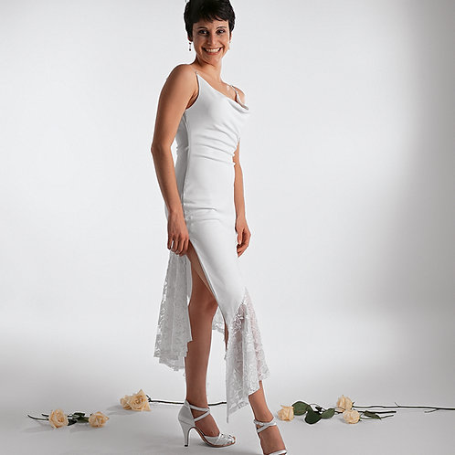 Drape Neck Tango Wedding Dress