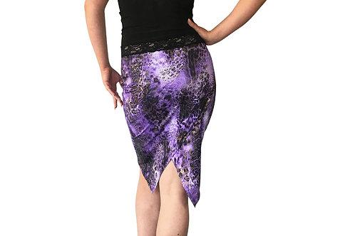 Purple Cheetah Burnished Gold tuxedo pencil skirt