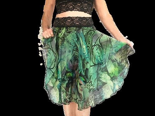 Green Swirl chiffon circle skirt