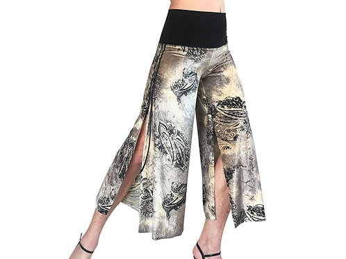 Champagne Paisley velvet cropped pant with slits