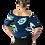 Thumbnail: 3/4 Sleeve Boatneck off shoulder in Blue Sunflower