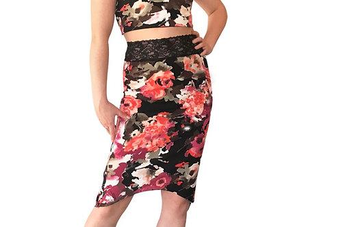 Coral + Mauve Floral tuxedo pencil skirt