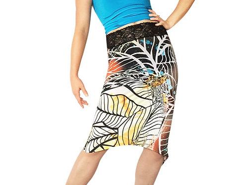Abstract Leaf tuxedo pencil skirt